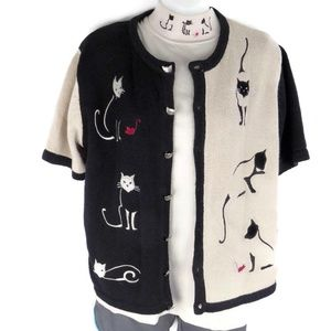 Christopher Banks Medium Cardigan Sweater Cats